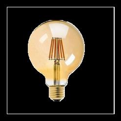 LAMPADA FILAMENTO LED 6W G80 BRANCO QUENTE
