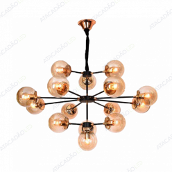 PENDENTE SIDERAL 15 GLOBOS 10XE27 PRETO/BRONZE LL3002 MBLED