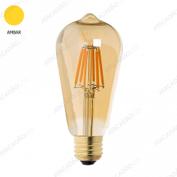 LAMPADA FILAMENTO LED 6W ST64 AMBAR 2300K